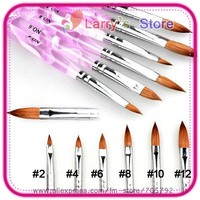 6 Pieces/Set Different Size No. #2/4/6/8/10/12 Professional Acrylic Nail Art Tip Brush Pen AR5 Sables