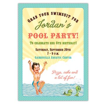 Retro Pool Party Invitations (B)