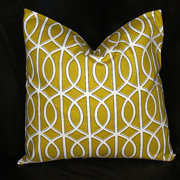 "Pillow Cover ONE Citrine 18x18 inch Throw Pillow COVER 18"" Robert Allen Dwell Studio Modern LATTICE Gold Yellow"