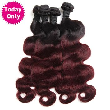 [TODAY ONLY] Burgundy Brazilian Body Wave Bundles Ombre Human Hair Weave Bundles Two Tone 1b 99j Non Remy Hair Can Buy 3 or 4 Pc