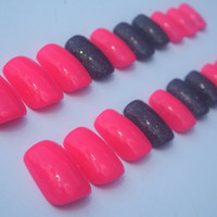 Hot Pink Nails- Black Holographic Accent Nail- Fake Nails- False Nails- Acrylic Nails- Press On Nails- Hand Painted