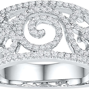 10kt White Gold Womens Round Diamond Swirl Filigree Band Ring 5/8 Cttw 108808