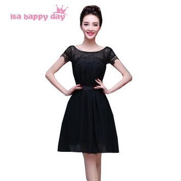 robe de princesse red tank lace up back top chiffon lace modern short elegant prom party dresses fashion 2018 dress black W2757