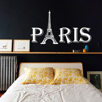 Wall Decal Sign Paris The Eiffel Tower Big Paris Gift Bedroom Decals Vinyl Sticker Home Decor Art Mural Nursery Kids Room KV48