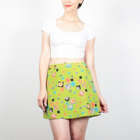 Vintage 90s Micro Mini Skirt Lime Green Geometric Daisy Floral Print Clueless Mod 1990s Skirt Club Kid Rave Hipster Skirt S Small M Medium
