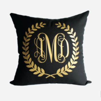 Gold Monogram Throw Pillow Cover - Gold, Silver, and More - Quatrefoil Monogram Pillow Sham - Mint
