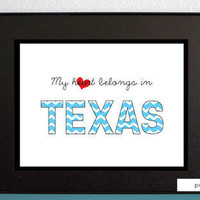 Your State Print, Printable art typography poster wall art decor - My heart belongs in...