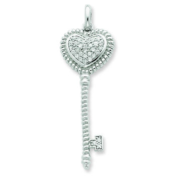 Sterling Silver CZ Heart Top Key Pendant QP2030
