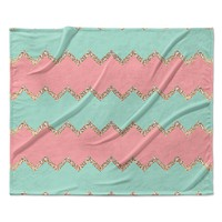 "Monika Strigel ""Avalon Soft Coral and Mint Chevron"" Orange Green Fleece Throw Blanket"