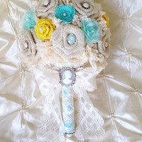 Burlap and Lace Bridal Bouquet Ivory, Yellow and Tiffany Blue Rustic Beach Summer Wedding