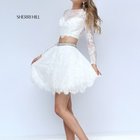 Sherri Hill 50073 Ivory Lace Illusion 2 Piece Short Dress