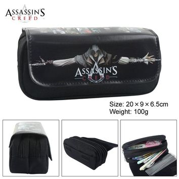Assassins Creed Canvas Double Zipper Wallet Students Stationery Case #213 Large Capaeity Pencil Bag Kids Gift