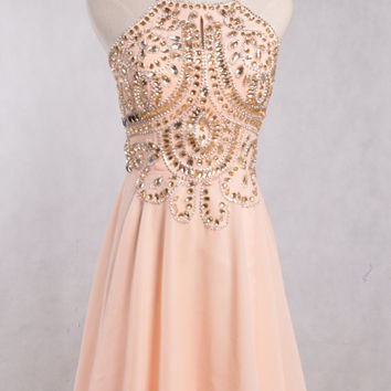 Short Champagne Backless Prom Dresses,Beaded Crystal Party Dresses,Chiffon Bridesmaid Dresses,Cocktail Dresses,Dancing Dresses