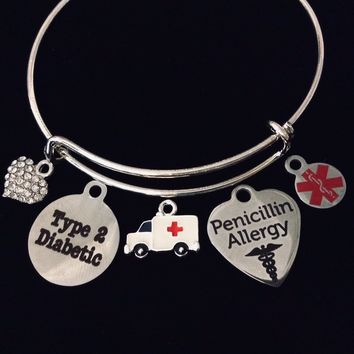 Medical Bracelet Jewelry Type 2 Diabetic Penicillin Allergy Charm Bracelet Silver Expandable Adjustable Bangle Diabetes Medical Alert Jewelry One Size Fits All Gift Ambulance