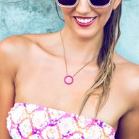 Modern Open Circle Colored Necklace