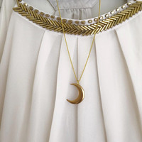 Raw Brass Crescent Moon Necklace | Dainty Necklace | Layering Necklace