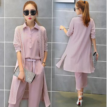 3 Pieces Fashion Casual Women Sets New 2017 Spring Solid Shirt Hollow out Long Cardigan Coat L and Pant Slim Lady Suits  A125-2