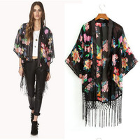Feitong Summer Women Chiffon Blouse Floral Printed Cardigan Tassels Fringe Shawl Kimono Cardigan Coat Jacket Outwear Cover Up