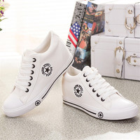Summer Wedges Canvas Shoes Women Casual Shoes Female Cute White Basket Stars Zapatos Mujer Trainers 5 cm Height