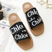 Chloe Fashion New Letter Print Women Flip Flop Slippers Shoes Black