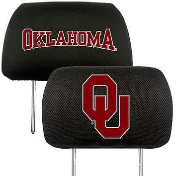 Oklahoma Sooners  2-Pack Auto Car Truck Embroidered Headrest Covers