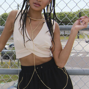 Circular Choker Neck Body Chain in Gold