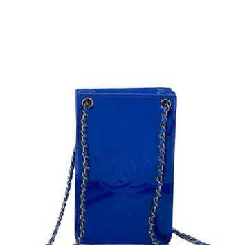 Chanel Electric Blue Patent Mobile Phone Holder Crossbody Bag by Madison Avenue Couture - Moda Operandi