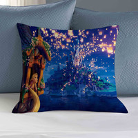 disney tangled rapunsel watching lantern in the castle pillow square pillow size 16x16 , 18x18, 20x20