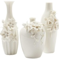 Capo-Di-Monte Ivory Floral Vases - Set of 3