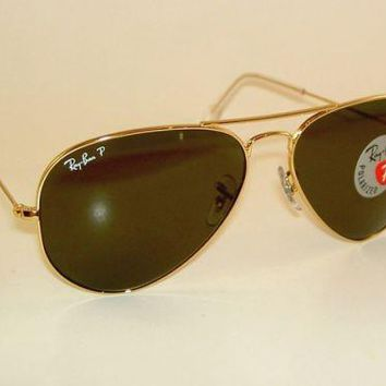 New RAY BAN Aviator Sunglasses Glass Polarized Green RB 3025 001/58 Gold 55mm