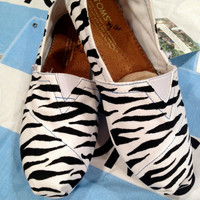 White & Black Zebra Animal Print Custom TOMS