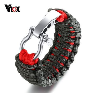 Adjustable Outdoor Survival Bracelet for Men Braided Rope Chain Screw Stainless Steel.