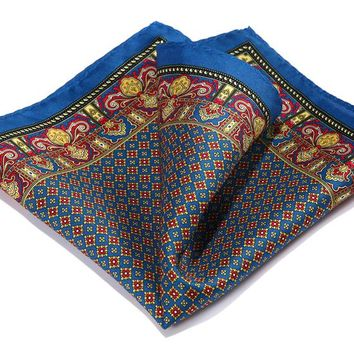 Blue Red 100% Natural Silk Party Pocket Square