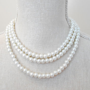 White necklace, Pearl necklace, Long necklace,  Wedding jewelry, Wedding necklace,  Bridesmaid necklace, Valentine gift, Mothers day