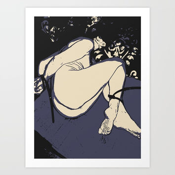 Slave girl in bondage, abstract fetish play, BDSM erotic nude, sexy naked woman tied Art Print by Casemiro Arts - Peter Reiss