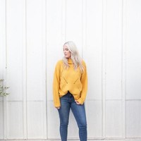 POINTELLE MUSTARD SWEATER