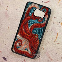 Red Octopus Mosaic Octopus Miracle - Samsung Galaxy S7 S6 S5 Note 7 Cases & Covers