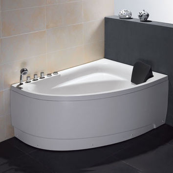 EAGO AM161-L  5' Single Person Corner White Acrylic Whirlpool Bath Tub - Drain on Left