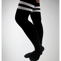Black with White Athletic Stripe Over the Knee Socks