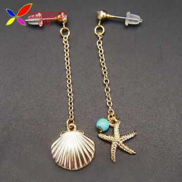 2016 New Summer Jewelry Fashion Designer Lovely golden Seashell Seastar Bead Girl's Dangling Earrings for Women joyas pendiente