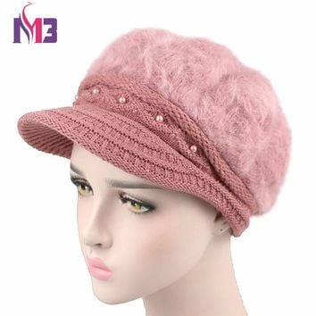 New Women Wool Beret Hat Winter Super Warmer Plush Female Cap Casual Dome Knit Visor Hat Beret for Women Cap Bonia