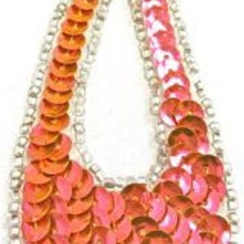 """Design Motif Large Teardrop in Florescent Peach Sequins with Silver Beads 1.5"""" x 4"""""""