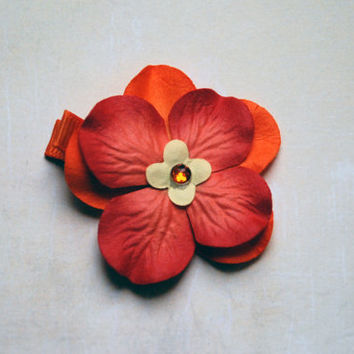 Orange Tropical Paper Flower Hair Clip with Gem