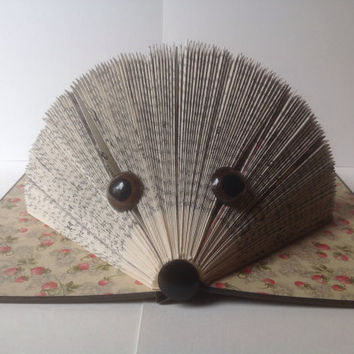 Folded Book Hedgehog folded pages book art