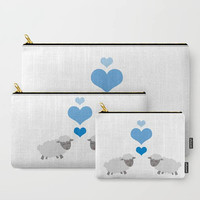Sheep/Lamb with Blue Hearts Carry All Pouch - Make-up Bag- Pouch- Toiletry Bag - Change Purse - Organizing Bag - Made to Order