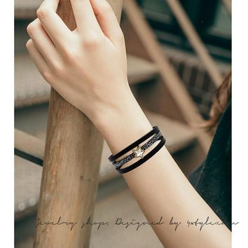 MJARTORIA 1pcs Crystal Star Charm Leather Bracelet for Women Multilayer Magnetic Clasp Wrap Bracelet & Bangles Fashion Jewelry