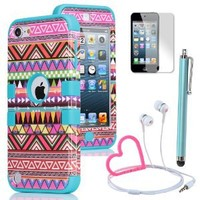 Pandamimi ULAK(TM) Hybrid Pink Hard Aztec Tribal Pattern and Blue Silicon Case Cover for Apple iPod Touch (Generation 5) with Screen Protector
