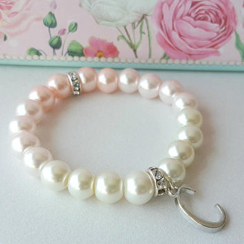 Flower girl personalized gift, pearl bracelet, pink bracelet, blush pearls, bridesmaid jewelry, wedding gift, bridal shower