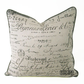 "TAUPE ACCENT Pillow Cover - 20"" X 20"" French Writing Print On Cotton Linen, Gray Welt, Revesible"