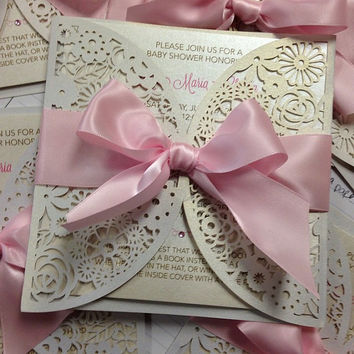 pink heaven sent baby shower invitation  from partyprintexpress, Baby shower invitations